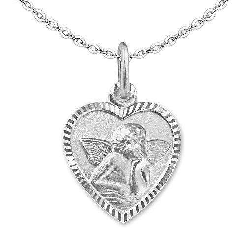 CLEVER SCHMUCK Set Silberner Mädchen Anhänger Herz 11 mm mit Engel matt Rand glänzend diamantiert - Rückseite GSD und Kette Anker 40 cm Sterling Silber 925 für Kinder