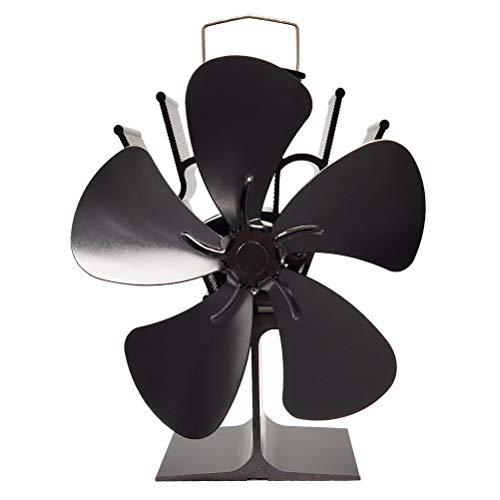 Faviye Silent Heat Power Kachelventilator, 5 vleugels, kachelventilator voor open haard