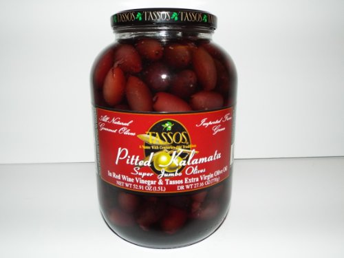Tassos Pitted Greek Kalamata Olives, 52.9 oz