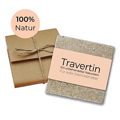 Moderne Travertin Seifenschale echter Naturstein - inkl. Antirutschfüßen - auch als Glas-Untersetzer oder für Deko, Pflanzen, Raclette - Hellbraun 10x 10 cm