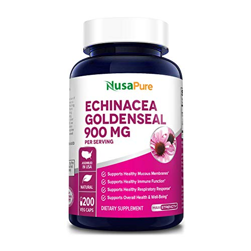 Echinacea Goldenseal 900mg 200 Veggie Caps (Vegetarian, Non-GMO & Gluten Free) Supports Healthy Immune Function and Overall Well-Being
