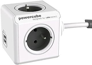allocacoc PowerCube Extended 3 m DuoUSB, 4 prises multiples 230V + 2 USB, FR, Blanc