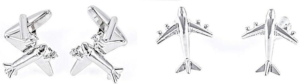 MRCUFF Airplane Plane Jet Commercial Pilot 2 Pairs Cufflinks Presentation Gift Box & Polishing Cloth