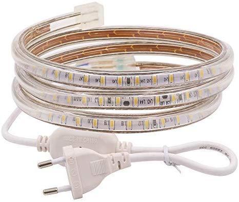 XUNATA 2M LED Streifen,AC 220V 230V IP67 imprägniern 3014 SMD 120leds / m Seil-Licht,Weiß,Flexibles LED Band mit Netzstecker für Küche Stairway Home Auto Bar Weihnachten Party Deko (Weiß, 2M)