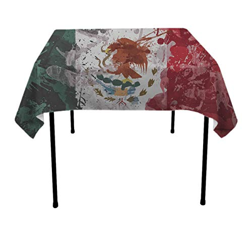 Painted Mexican Flag Square Tablecovers Polyester Spillproof Wrinkle Free Tablecovers - Dinning Tabletop Decoration Celebrations Outdoor Party BBQ Table Toppers