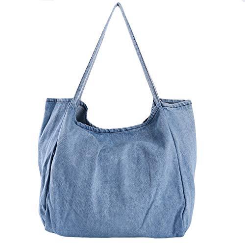 LnLyin Bolso de mano de gran capacidad para mujer, de tela vaquera, para viajes, compras, bolso de hombro, color Azul, talla Talla única