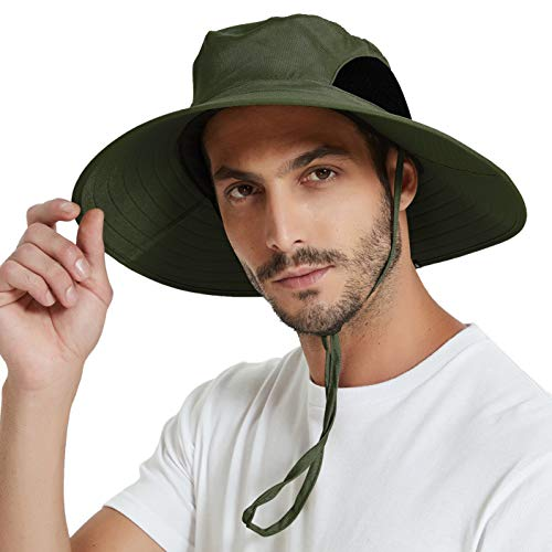 EINSKEY Sun Hat for Men/Women, Summer Outdoor Sun Protection Wide Brim Bucket Hat Waterproof Breathable Packable Boonie Hat for Safari Fishing Hiking Beach Golf (Army Green)
