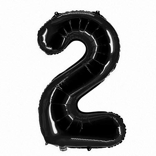 Party Factory XXL Folienballon Zahl 2, Luftballon 100cm, schwarz, Geburtstag, Abi, Jubiläum, Party Ballon, Heliumballon, Deko
