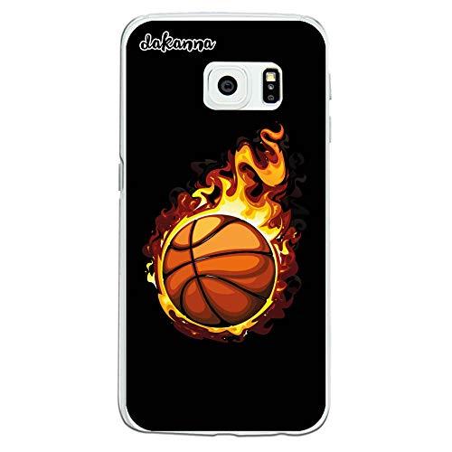 dakanna Funda para Samsung Galaxy S6 Edge   Balón de Baloncesto en Llamas   Carcasa de Gel Silicona Flexible Transparente