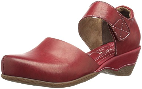 L'Artiste by Spring Step Women's Gloss Mary Jane Flat, Red, 37 EU/6.5-7 M US