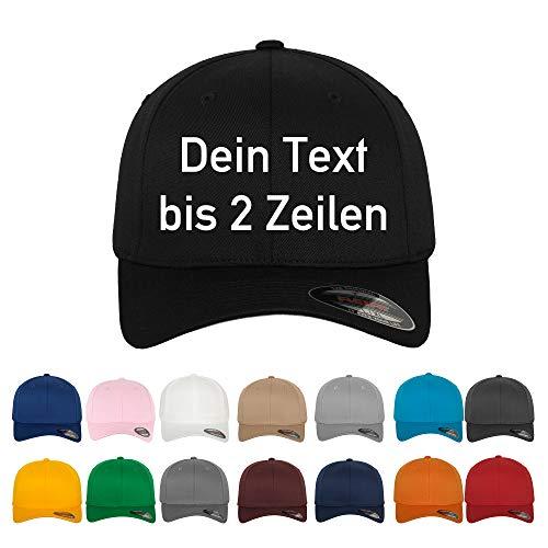 Generisch Original-Flexfit Basecap, Baseball Cap mit Wunschtext oder Namen bis 2 Zeilen Bestickt (L/XL, Royalblau)