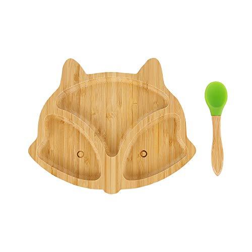 Plato Bambu de Fox con Ventosa para Bebes y Niños Infantil Pequeños Antideslizante con Succión (Color Aleatorio de Cuchara)