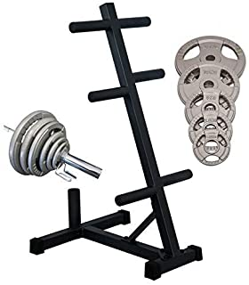 HCE Olympic Weight Plates and Bar Holder - Tree Rack Olympic Barbell Weights Storage with 6 Weights Holder and 1 Standing ...