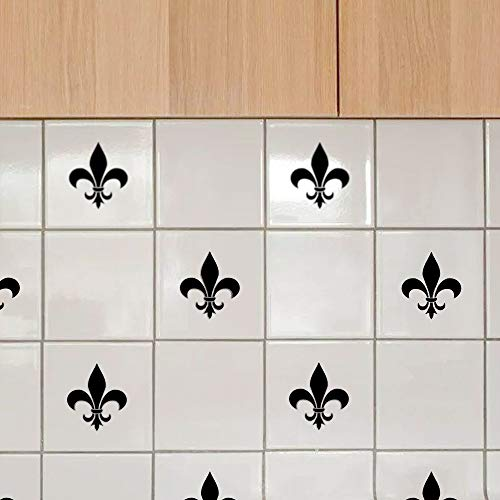 Wall Tile Decals Stickers for Bathroom Kitchen - [16 Pack] Fleur De Lis Lily Flowers - Vinyl, 3.2' x 3.2', Easy to Apply, Black, Waterproof