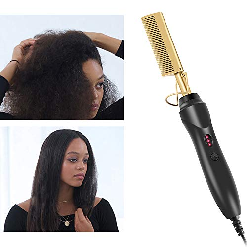 Electric Hot Comb Hair Straightener - Heat Pressing Comb Portable Curling Flat Iron Curlers High Heat Ceramic Press Comb - Professional Electrical Straightening Comb