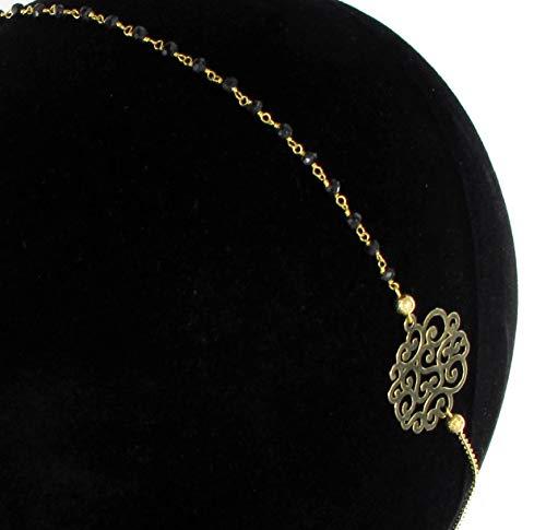 Les Dissonances Rainbow : Headband Perles Noires Doré à l'or Fin -