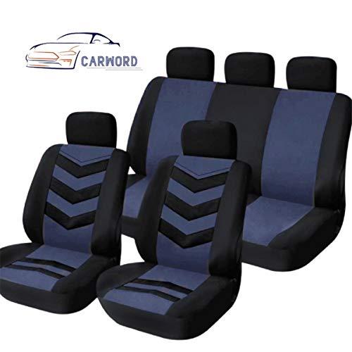 CARWORD Fundas de Asiento de Coche universales Juego Completo Compatible con airbag para airbag Lavable Delantero y Trasero Compatible con la mayoría de los automóviles, SUV, Van