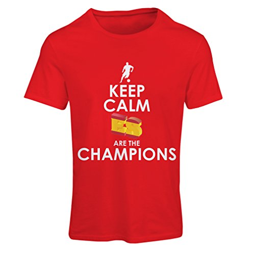 lepni.me Camiseta Mujer Españoles Son los campeones, Campeonato de Rusia 2018, Copa del Mundo - Equipo del fútbol de Camisa del admirador de España (Small Rojo Multicolor)