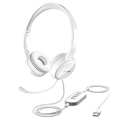 Mpow USB Headset/ 3.5mm Computer Headset with Microphone Noise Cancelling, Lightweight PC Headset Wired Headphones, Business Headset for Skype, Webinar, Phone, Call Center