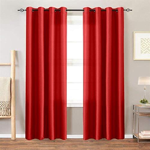 PENVEAT Satin Curtains Room Verdunkelungsvorhänge für Wohnzimmer Schlafzimmer 1 Panel, rot, 140x215cm, Stangentasche