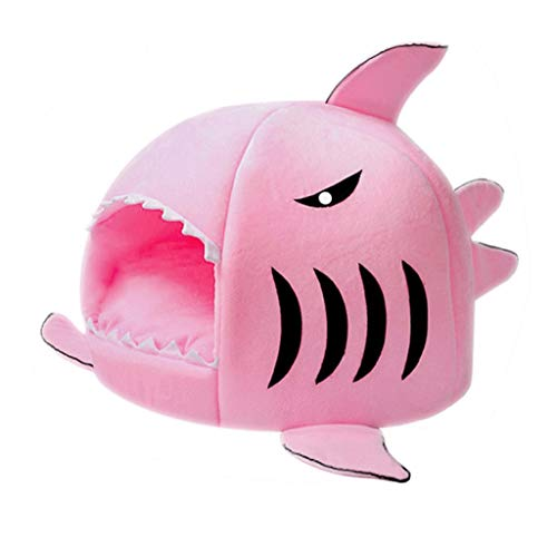 dongyu Detachable Soft Cushion Grey Shark Bed For Small Cat And Dog Cave Bed Shake, Creative Pet Bed Waterproof Bottom Cutest Pet House Pet Gift (Color : Pink, Size : Small)