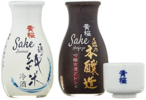 KIZAKURA Sake Set, 2 Flaschen+1 Becher (Junmai 15%+ Honjozo15% vol.) (je 1x 180ml)