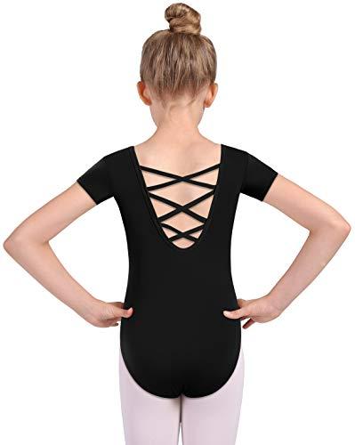 MOLLDAN Girls Dance Ballet Leotards Short Sleeve Criss Cross Straps Back(2QT5027-06-XXL) Black