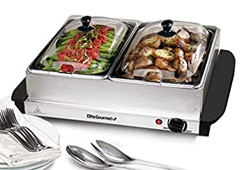 Maxi-Matic Dual Server Food Warmer Adjustable Temp For Parties & Holidays 2 x 2.5Qt Buffet Trays with Slotted Lids Perfect for Parties Entertaining & Holidays Stainless Steel