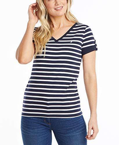 Nautica Women Easy Comfort V-Neck Striped Supersoft Stretch Cotton T-Shirt, Navy, Medium