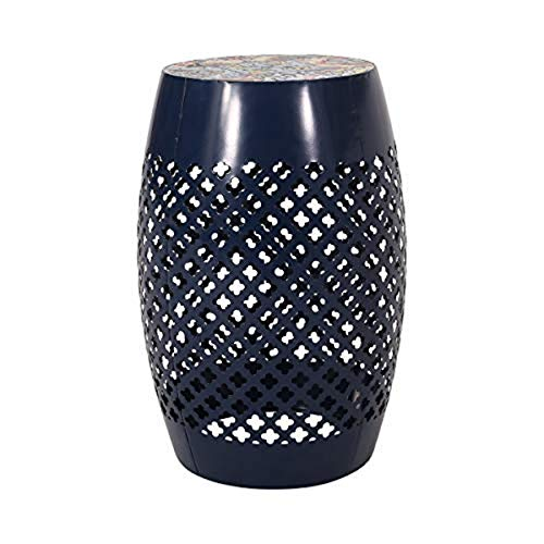 Christopher Knight Home 313055 Kevin Outdoor Lace Cut Side Table with Tile Top, Dark Blue