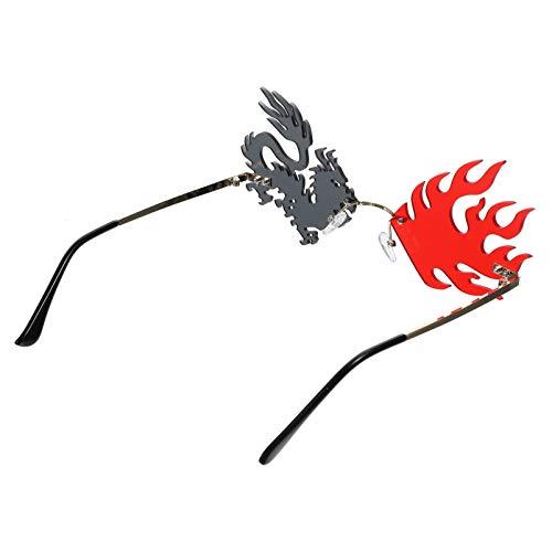 ABOOFAN Gafas de Sol Divertidas sin Marco Gafas Creativas Novedosas Estilo Chino Dragón Phoenix Anteojos para Mujer Favores de Fiesta Accesorios para Fotos