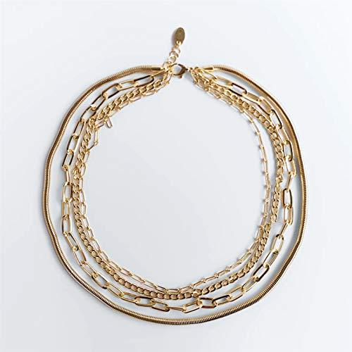 DSJTCH ZA Enlace Collares for Las Mujeres de Moda de Color Oro metálico Maxi Enlace de Cadena Pendiente de los Collares de la joyería de Hip-Hop for los Regalos (Metal Color : Gold Color 12)