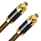 Cable de audio óptico, EMK 5 m de fibra de carbono cable óptico Toslink digital S/PDIF Toslink conectores compatibles con Playstation, barra de sonido, cine en casa, sistemas de sonido envolvente.