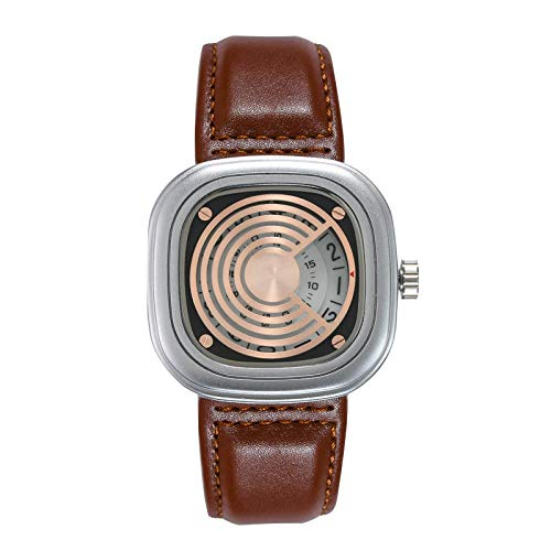 Smartwatches,Trendy Lässige Uhr Quadratischer Gürtel Personalisierte Quarzuhr, Kaffee Mit Silberner Schale Kaffee