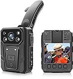 CAMMHD - Cámara de policía portátil 1080p Full HD 2.0 pulgadas, 36 millones de píxeles, visión nocturna por infrarrojos, batería de 3200 mAh, cámara portátil con memoria de 64 G y luz de advertencia.
