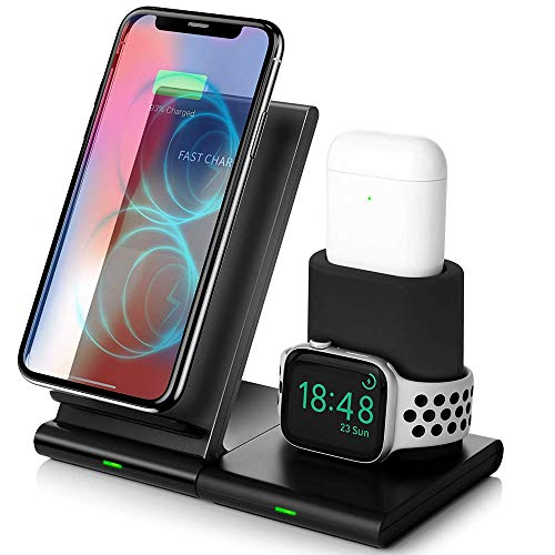 MMOBIEL 3 in 1 QI Draadloze Oplader Lader Magnetisch Design Oplaad Station Compatibel met Apple Watch 5/4/3/2 AirPods iPhone 11/11 Pro Max/XR/XS/X/8 Samsung S10/S9/Note 10/9