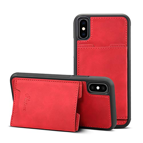 TACOO Schutzhülle für iPhone XS Max 16,5 Zoll Apple Leichte Hülle, weiches PU-Leder, dünn, einfache Schutzkarten-Schlitze, langlebiger Ständer, robust für Frauen, rot