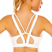 Cordaw Sports Bras with Zipper Front Medium High Impact Support Strappy Back Workout Bra Tops, White Large