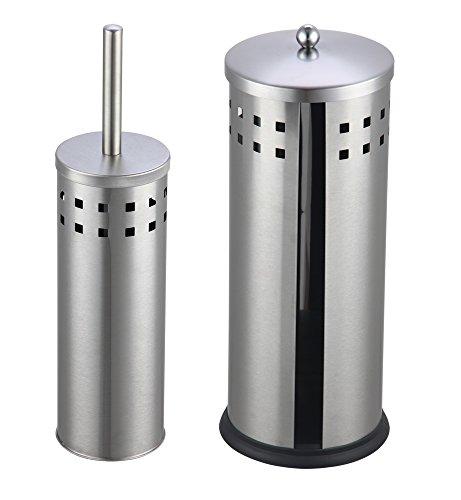 MSV- Brosse wc manche et grand pot fermé perforé + Rangement papier en inox