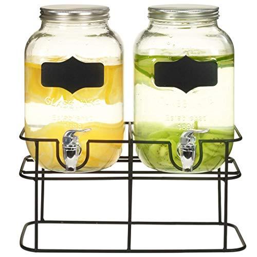 Festnight Dispensadores de Bebida con Soporte Botella de Cristal con Grifo Botes de Cristal con Tapa 2 unidades Vidrio 2 x 4 L
