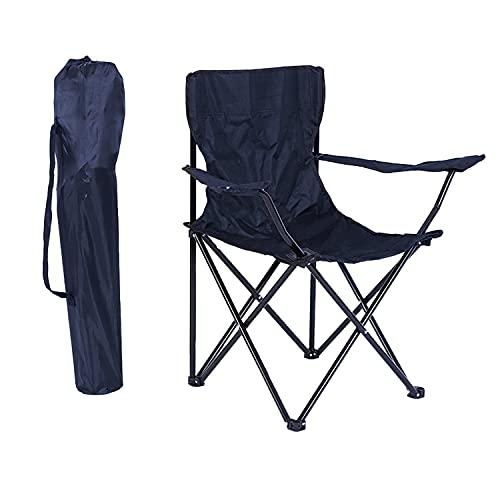 Klappbare Campingstühle, Outdoor-Angelstühle mit Armlehnen und Getränkehalter, tragbarer Gartenstuhl, leicht, kompakt, robust, für Strand, Sonnenbaden, Partys, Ausflüge und Grillabende – Marineblau