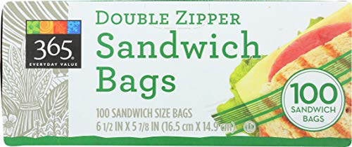 365 Everyday Value, Double Zipper Sandwich Bags, 100 ct