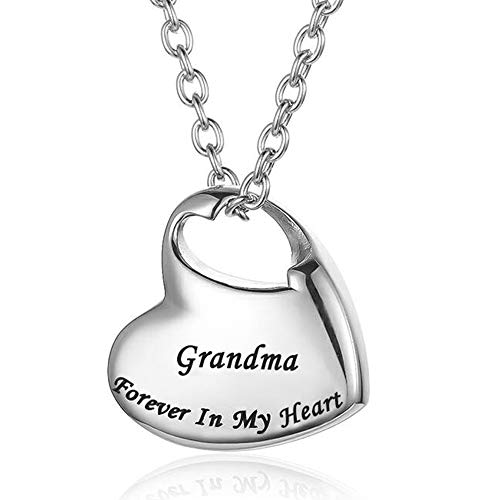 Cremation Urn Necklace for Ashes Urn Jewelry,Forever in My Heart Carved Stainless Steel Keepsake Waterproof Memorial Pendant for mom & dad with Filling Kit (Grandma)