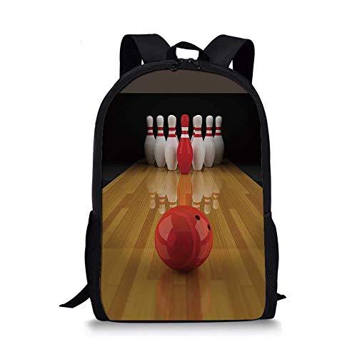 AOOEDM Backpack Bowling Party Dekorationen Stilvolle Schultasche, Gasse mit rotem Kegel in der Mitte Zielpunktzahl Gewinner Dekorativ für Jungen, 11 '' L x 5 '' B x 17 '' H.