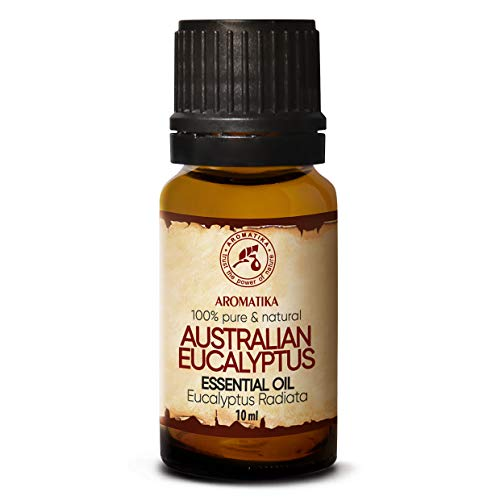 Aceite de Eucalipto 100% Natural Aceite Esencial 10ml - Eucalyptus Radiata - Australia - Ideal para belleza - Sauna - Aromaterapia - Difusor de Aroma - Lámpara perfumada - Aceite de Eucalipto Puro