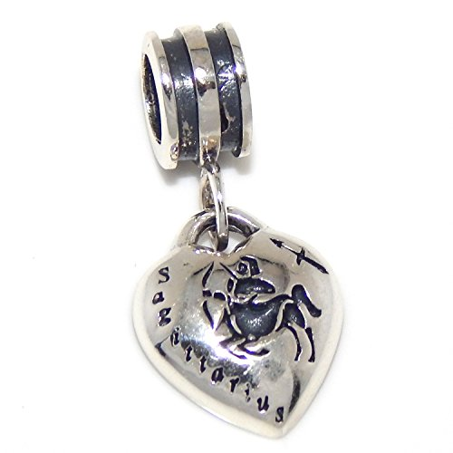 ICYROSE Solid 925 Sterling Silver Dangling Sagittarius Zodiac Sign Heart Charm Bead 122 for European Snake Chain Bracelets