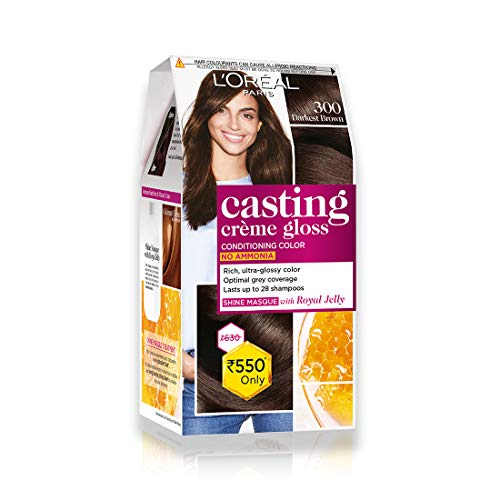 L'Oreal Paris Casting Creme Gloss, Darkest Brown 300, 87.5g+72ml