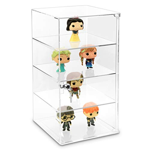 MOOCA Acrylic Lockable Showcase Display Case with 3 Removable Shelves, Comes with a Lock & Key