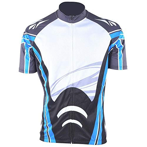 Regun Maillot de Verano para Ciclismo para Hombre Mangas Cortas Transpirable Anti-Sudor Ropa Deportiva Cuello Redondo de Secado rápido con Cremallera para Carreras de montaña (Azul)(L)