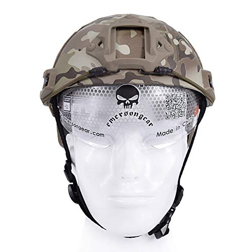 EMERSONGEAR Ballistic Helmet with Visor Goggles Version for Airsoft Paintball Hunting Multicam